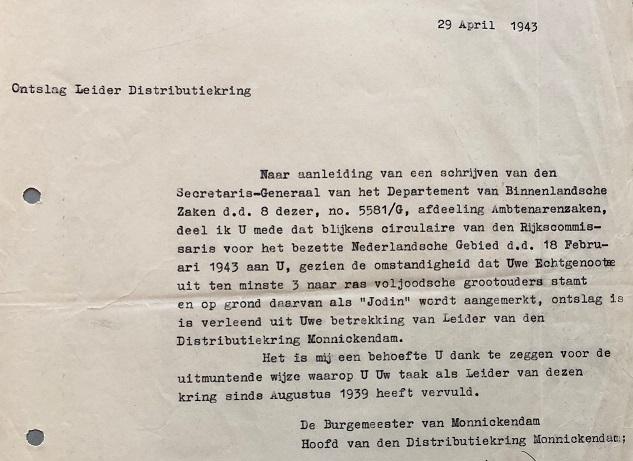 Brief oud burgemeester uit 1943