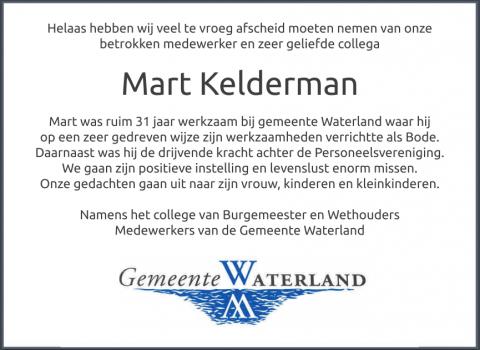 Overlijdensbericht Mart Kelderman