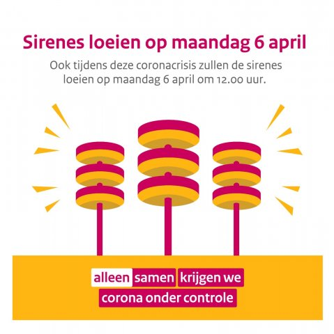 sirenes loeien op maandag 6 april